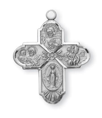 """HMH Religious Sterling Silver 4 Way Medal With 24"""" Chain"""