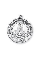 "HMH Religious Sterling Silver Round Our Lady of Fatima with 24"" Chain"