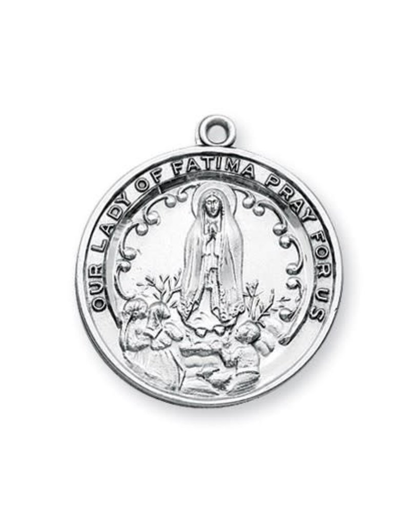 """HMH Religious Sterling Silver Round Our Lady of Fatima with 24"""" Chain"""