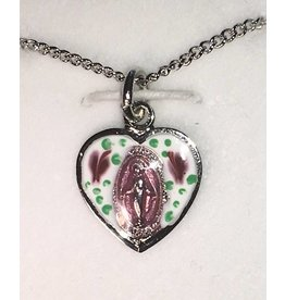 "HMH Religious Child's Pink Miraculous Medal Sterling Silver Heart Charm With 16"" Chain Necklace"
