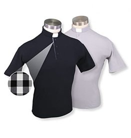 WJ Hirten Short Sleeve Black Golf Polo Clergy Shirt