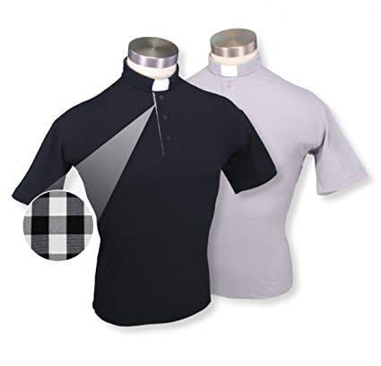 WJ Hirten Short Sleeve Black Golf Polo Clergy Shirt