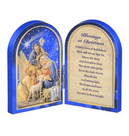 """WJ Hirten 5"""" X 3.5"""" The Nativity With Lamb Natural Wood Diptych"""