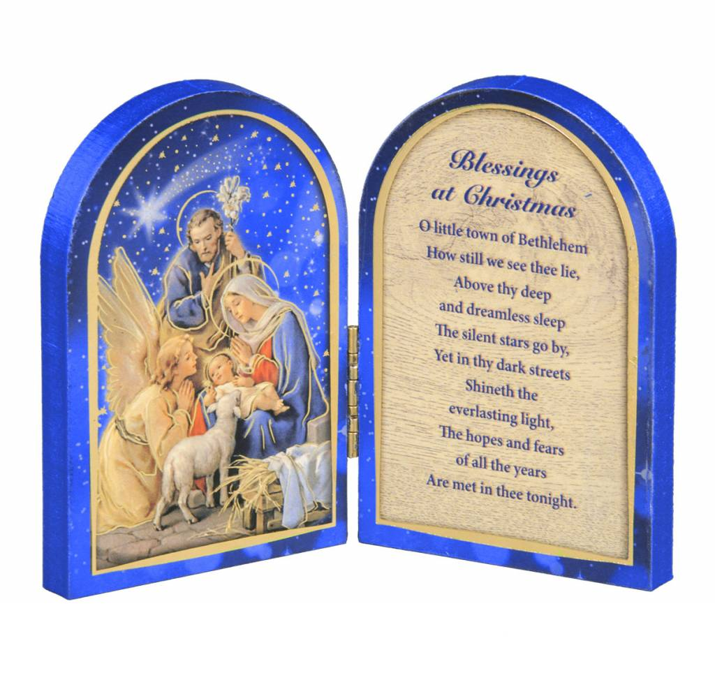 "WJ Hirten 5"" X 3.5"" The Nativity With Lamb Natural Wood Diptych"