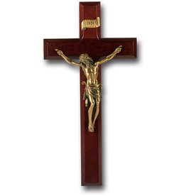 "WJ Hirten 11"" Crucifix Dark Cherry with Museum Gold Corpus"