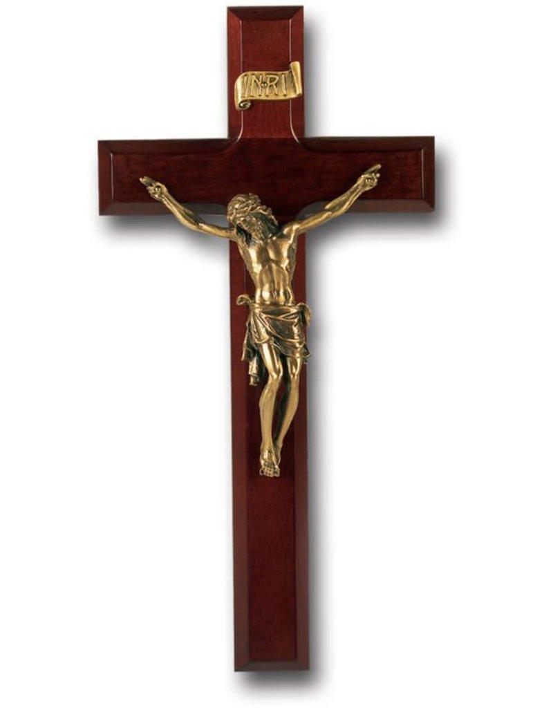 """WJ Hirten 11"""" Crucifix Dark Cherry with Museum Gold Corpus"""