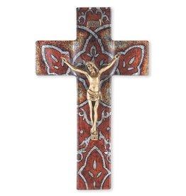 "WJ Hirten 10"" Burnt Orange Glass Crucifix with Museum Gold Corpus"