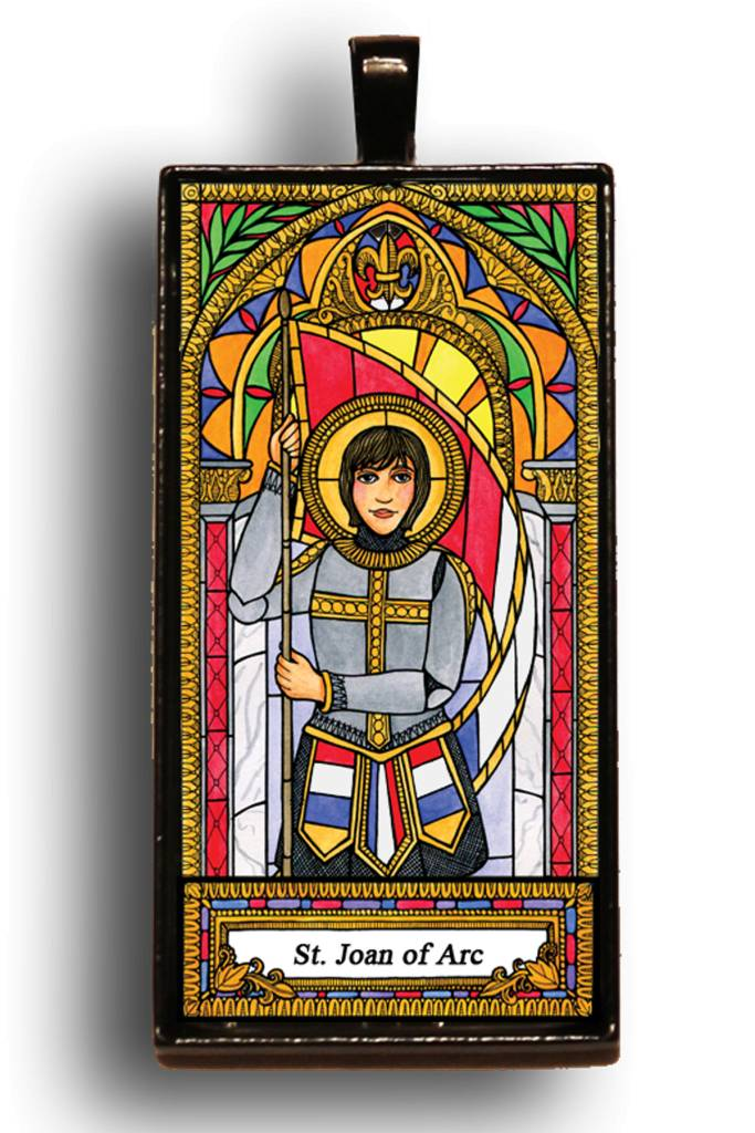 St. Joan of Arch Classic Stained Glass Tote Tag