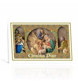 WJ Hirten Nativity Scene Framed Images Christmas Card