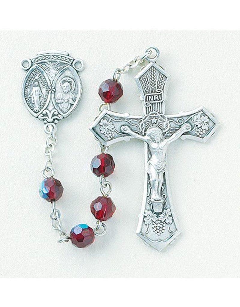 HMH Religious 6mm Tin Cut Ruby Aurora Borealis New England Pewter Rosary