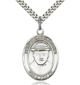 Bliss Manufacturing Sterling Silver St. Damien of Molokai Pendant on a 24 inch Light Rhodium Heavy Curb Chain