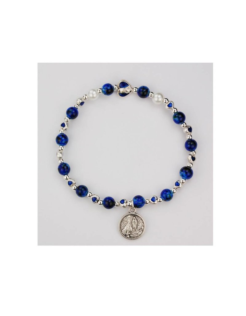 McVan Our Lady of Lourdes Stretch Bracelet With White Pearls and Blue Heart Enamel Beads