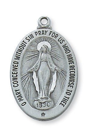 """McVan Pewter Miraculous Medal on 18"""" Chain Necklace"""