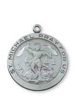 """McVan Pewter St. Michael Medal On 24"""" Infinity Chain Necklace"""