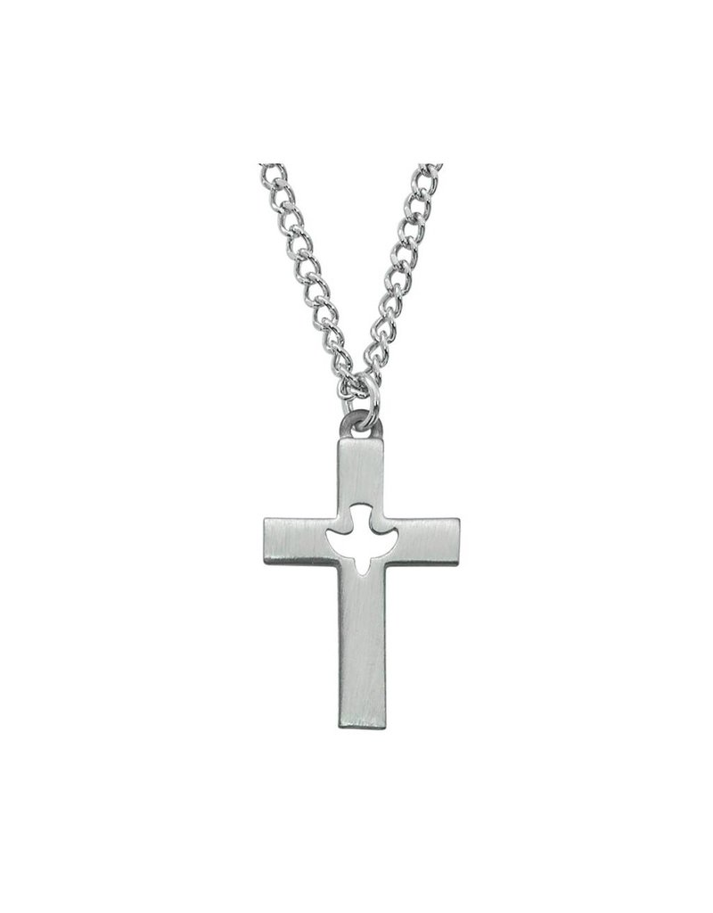 """McVan Pewter Cross Holy Ghost Necklace With 24"""" Infinity Chain"""