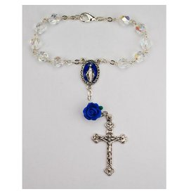 McVan Crystal Auto Rosary with Miraculous Medal and Blue Rose
