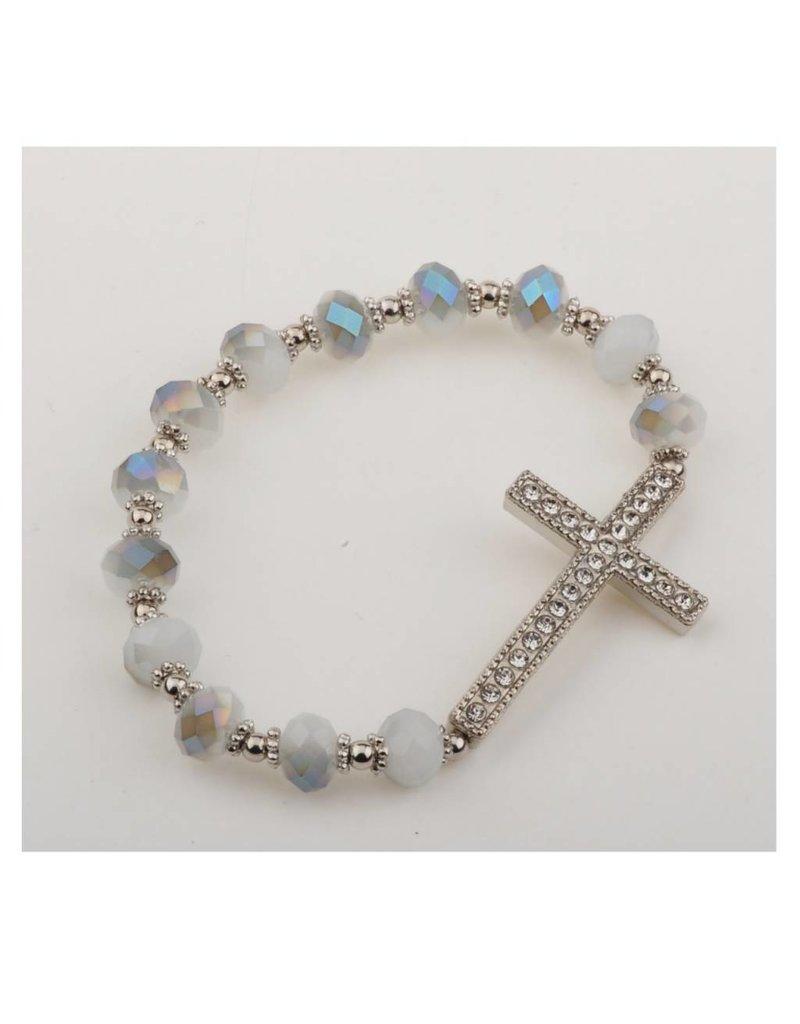 McVan Silver Gray Crystal Cross Stretch Bracelet