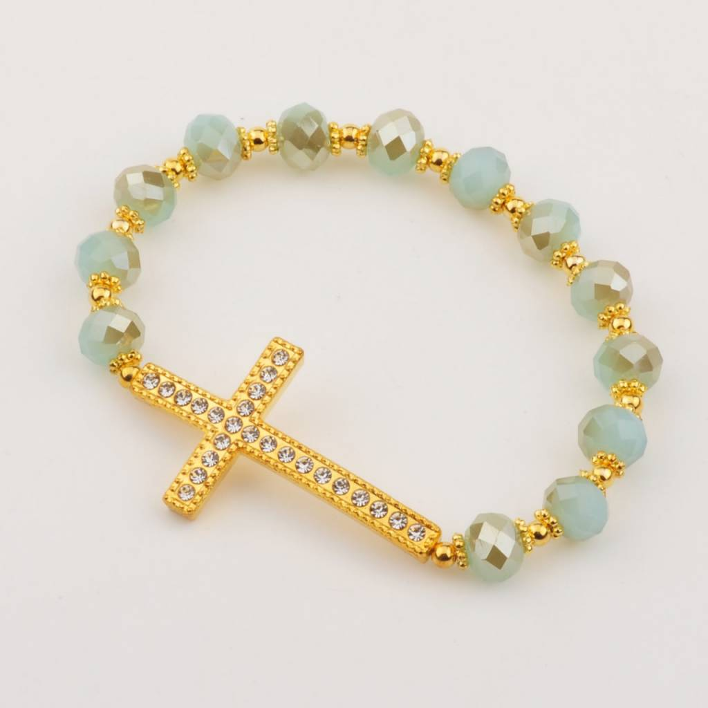 McVan Gold Aqua Crystal Cross Stretch Bracelet