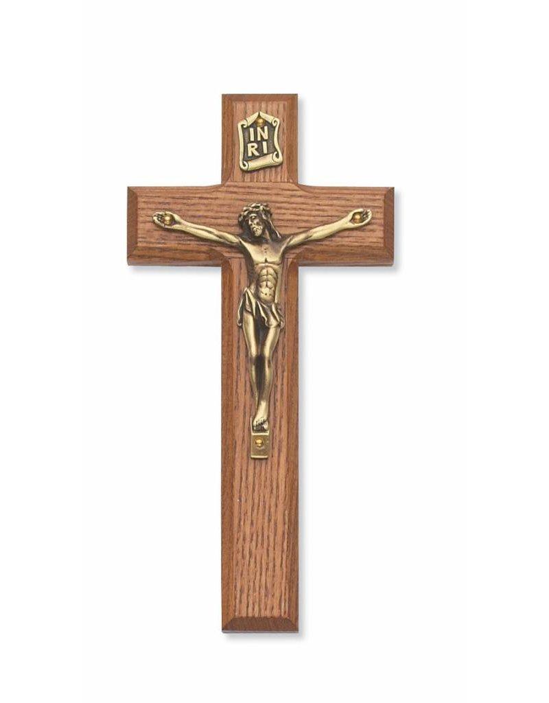 "McVan 7"" Stained Walnut Crucifix with Golden Corpus"