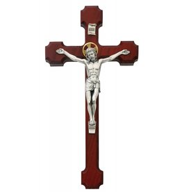 "McVan 10"" Cherry Crucifix with Silver Corpus and Golden Halo"