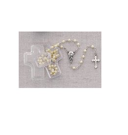 McVan White Pearl Children's Rosary in Cross Box