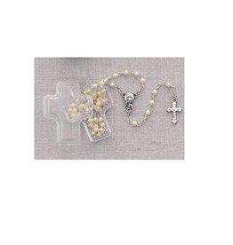 McVan White Pearl Children's Rosary in Cross Box