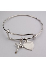 McVan Pewter Crucifix Bangle Bracelet