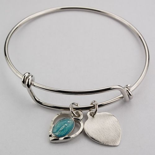 McVan Youth Blue Enamel Miraculous Medal Bangle Bracelet