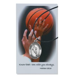 McVan Boys Basketball Pewter Pendant with Prayer Card