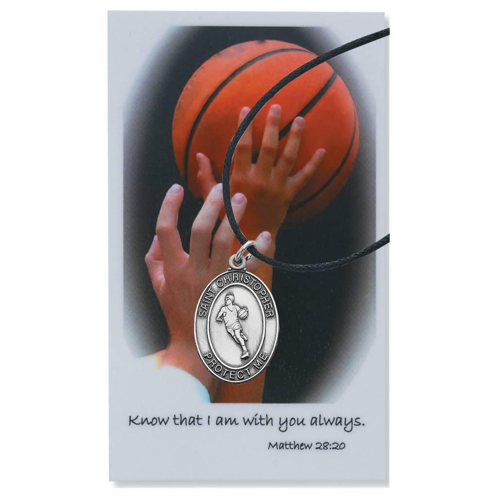 McVan Boys Basketball Pewter Pendant with Prayer Card