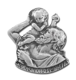 WJ Hirten Genuine Pewter Saint Christopher Auto Visor Clip