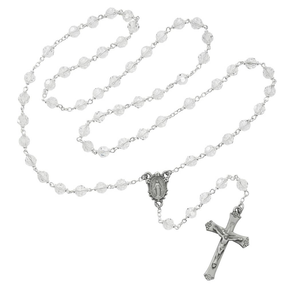 McVan 7mm Crystal Tin Cut Rosary with Deluxe Crucifix and Center