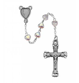 McVan 6mm Crystal Heart Rosary with Deluxe Crucifix and Center