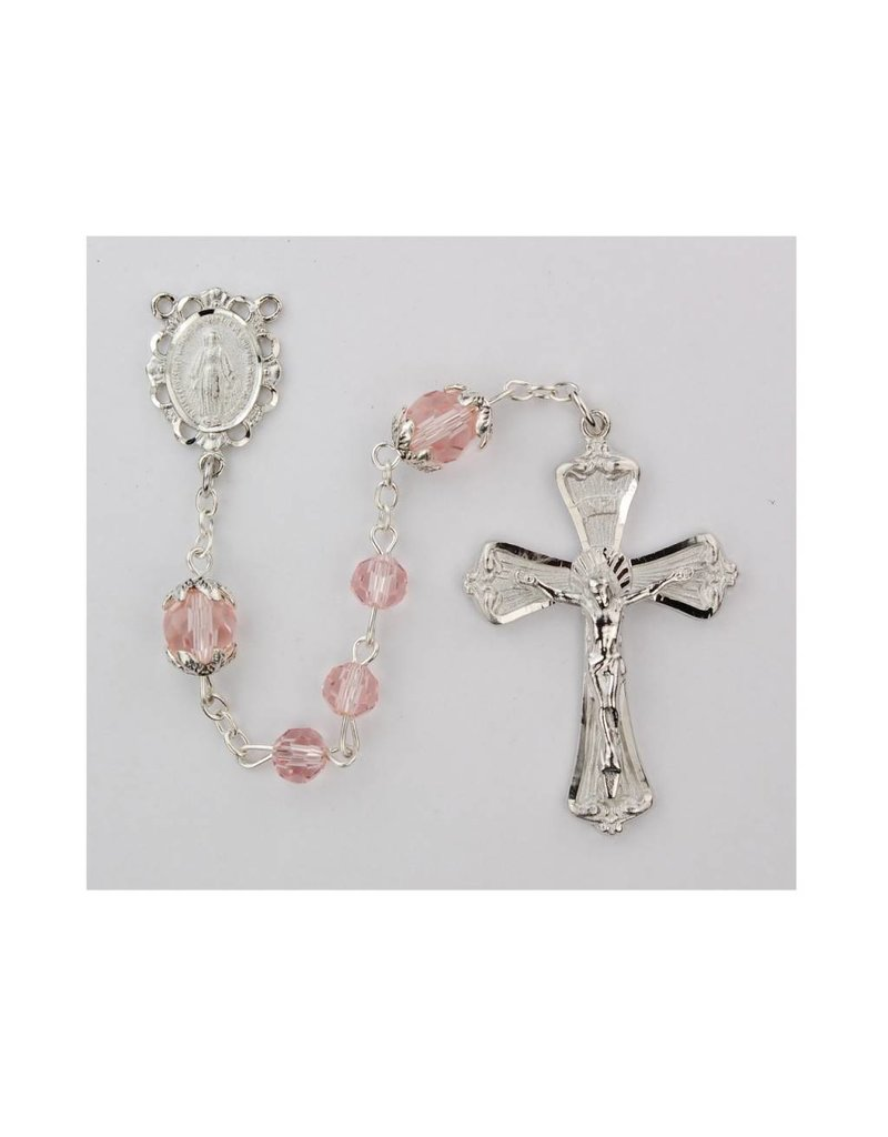 McVan 6mm Pink Crystal Rosary with 8mm Capped Our Father Beads