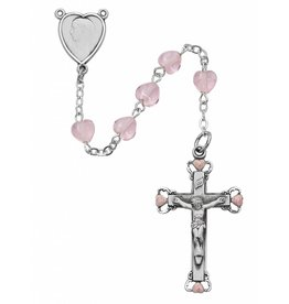 McVan 6mm Glass Pink Heart Bead Rosary