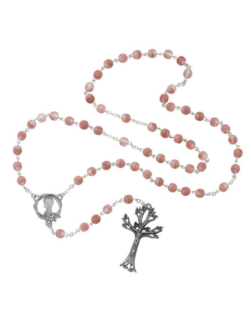 McVan 7mm Rose Glass Bead Dogwood Crucifix Rosary