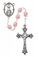 McVan 6mm Capped Pink Bead Rosary with Deluxe Crucifix and Center