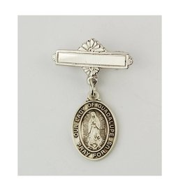 McVan Sterling Silver Our Lady of Guadalupe Baby Pin