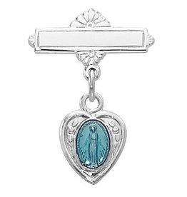 McVan Sterling Silver Blue Miraculous Medal Baby Pin