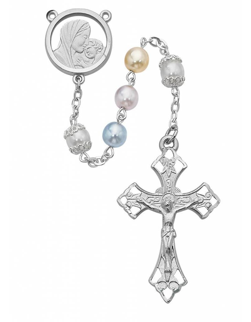McVan 7mm Multi Color Pearl Rosary with Rhodium Crucifix and Center