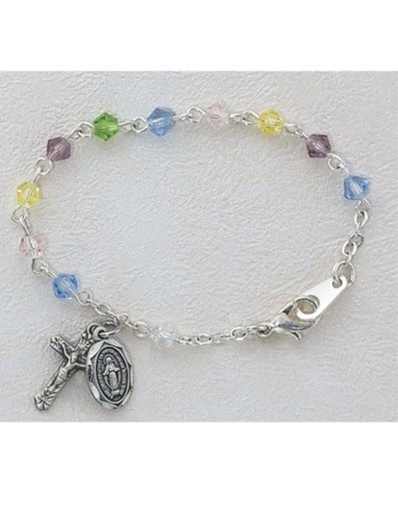 """McVan 5 1/2"""" Multi-Color Baby Bracelet with 4mm Tincut Crystal Beads and Sterling Silver Crucifix and Miraculous Medal"""