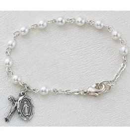 "McVan 5 1/2""  Pearl Baby Bracelet with Crucifix and Miraculous Medal"