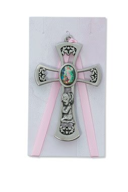 "McVan 3 3/4"" Guardian Angel Girl Pink Crib Cross"
