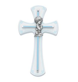 McVan Baby Boy Cross on White Wood, Blue Trim & Blue Silk Screen