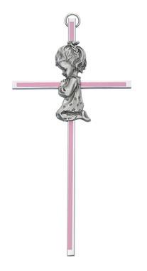 """McVan 6"""" Girl Praying Pink Pewter Cross"""