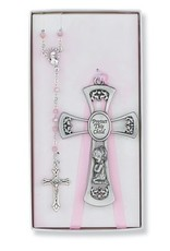 McVan Pewter Girl Cross and Pink Rosary Set