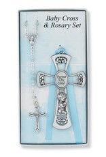 McVan Pewter Boy Cross and Blue Rosary Set