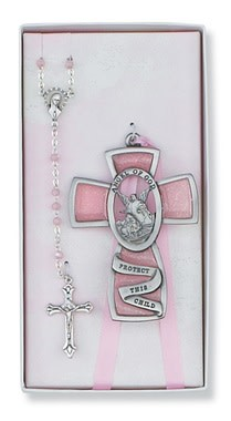 McVan Pink Guardian Angel Baby Cross and Rosary Set