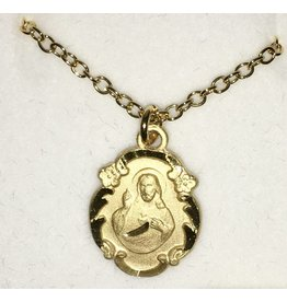 Devon Trading Company Gold Filled Sacred Heart of Jesus Medal on Chain