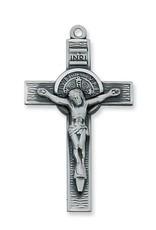 "McVan Antique Silver Saint Benedict Crucifix Pendant With 24"""
